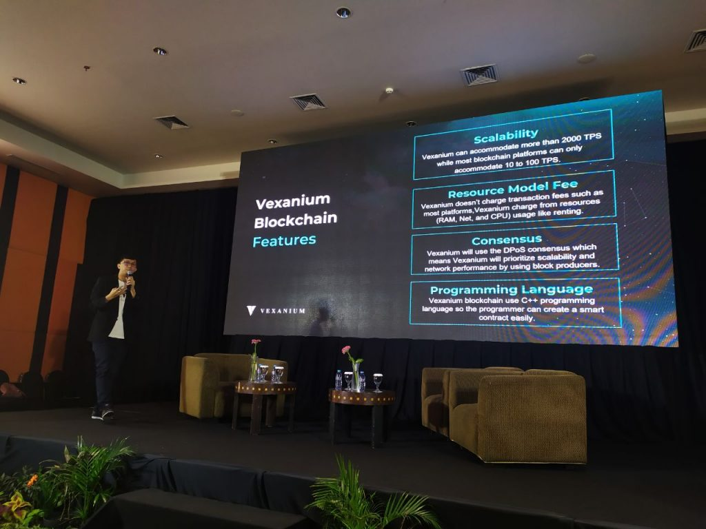 Danny Baskara CEO Vexanium FinHacks 31 Agustus 2019 Surabaya, Vexanium charge from resourse usage like renting